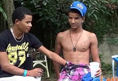Two Latin gay mates go down and dirty by the pool