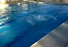 Spanish guy dare to strip naked in the pool in front of friends