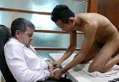 Tiny pinoy twink sucking dilfs cock in office