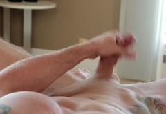 Ripped amateur jock tugging his dick at home