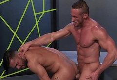 Pumped men having lusty gay sex
