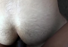 Young interacial amateur takes raw hard cock