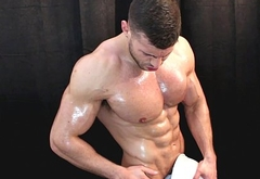 Oiled up muscle removal man does your errands for cash