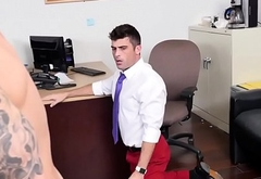 Cocksucking employee buttfucked on desk