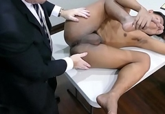 Office daddy ramming cock in asian ass