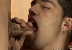 One twink boy handles two hard-ons in a 3some