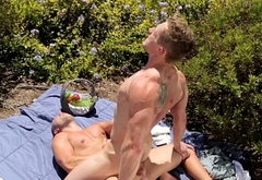 Outdoor jock cockriding stud after picnic