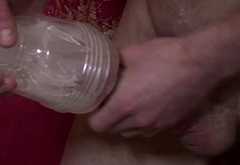 Solo ripped hunk fucking a fleshlight