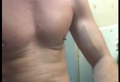 ginger beard strokes and shoots cum on his chest