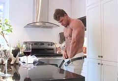 Stud strips and jerks off in the kitchen