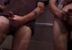 Straight punks jerking cock together