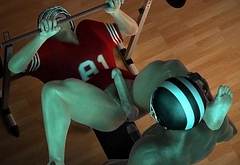 Two 3D football players having sex in the weight room