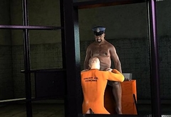 3D cartoon prisoner gets fucked in the ass by a chubby black cop
