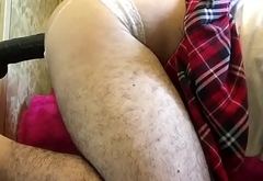 Fat sissy in chastity and school girl skirt takes huge dildos back to back