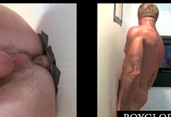 Blonde stud hammering gay butt on gloryhole