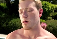 Handsome hunks drilling stud by the pool