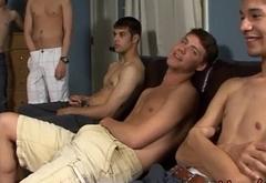 Sexy Gay Homosexuals Gets Gangbang Bukkake