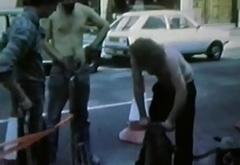 half nude road workers