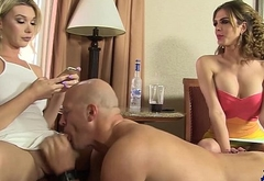 TS girlfriends fuck their submissive in Vegas