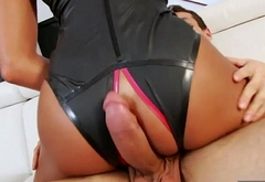 Huge boobs tranny gets anal banged bareback on the couch