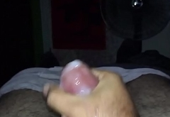me jerking my small hairy cock with big cumshot
