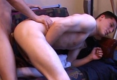 Amateur twink wanking after anal