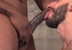 Buff black dude gets cum
