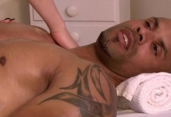 Shemale Vixen Godess gives head to and barebacked by masseur