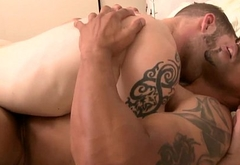 Ebony bottom hunk assfucked then jerks off