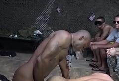 Black soldier bangs white soldier in barrack
