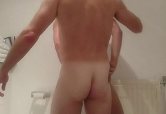 Straight married daddy takes his sub boy'_s ass in toilet