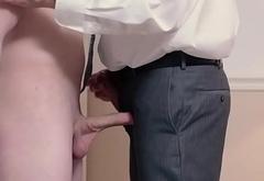 Mormon elder tugs cock