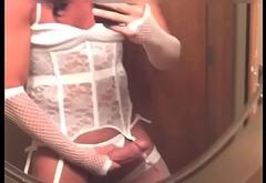 crossdresser in white corset