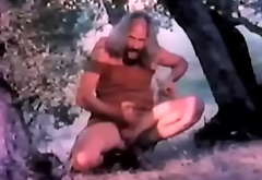 Pervert voyeur pa masturbates and sucks his own dick (clip from vintage porn)