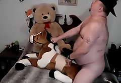 Uncut Plushie Cowboy Submit to Cur� Fucking His Stuffed Horse and Teddy Submit to
